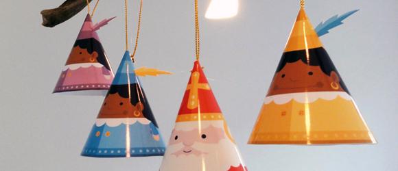 Sinterklaas en Zwarte Piet poppetjes knutselen